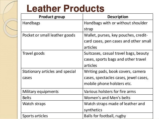 Leather Products  Product group Description  Handbags Handbags with or without shoulder  strap  Pocket or small leather go...