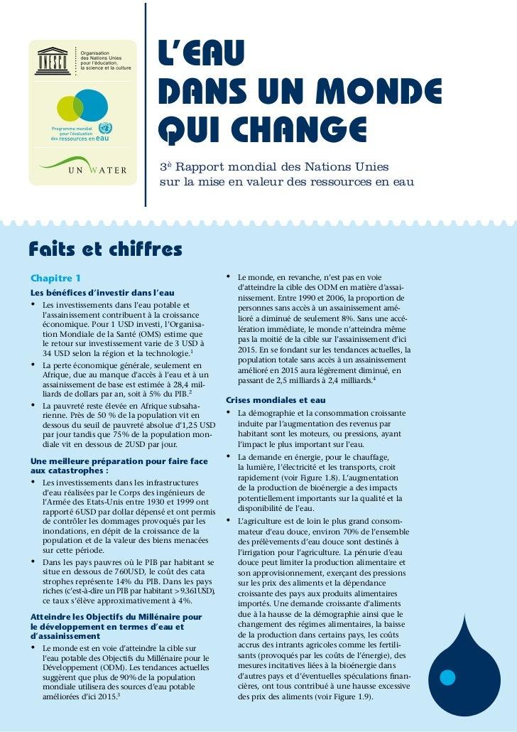 L'EAU                                        DANS UN MONDE                                        QUI CHANGE              ...