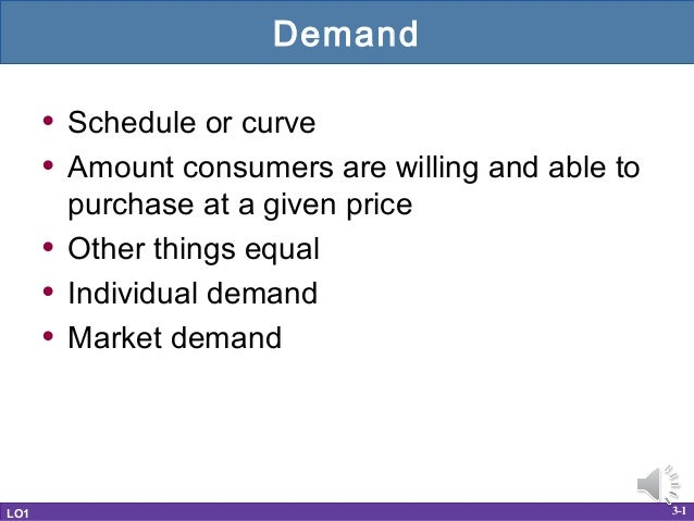 Demand      • Schedule or curve      • Amount consumers are willing and able to          purchase at a given price      • ...