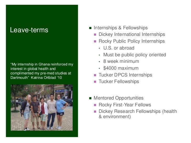 Leave Term And Post Grad Funding At Dartmouth W11 Info