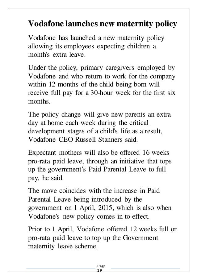 29 page 29 vodafone launches new maternity policy