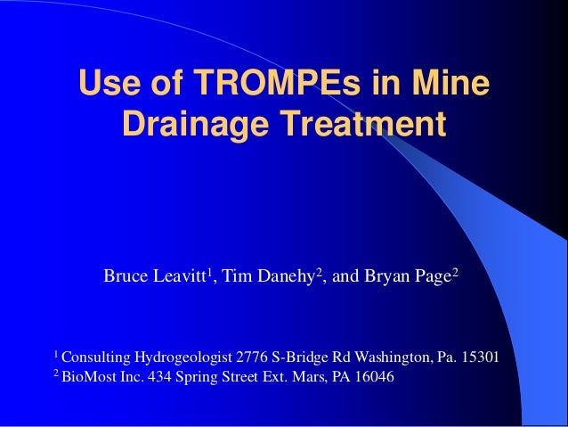 Use of TROMPEs in Mine Drainage Treatment Bruce Leavitt1, Tim Danehy2, and Bryan Page2 1 Consulting Hydrogeologist 2776 S-...