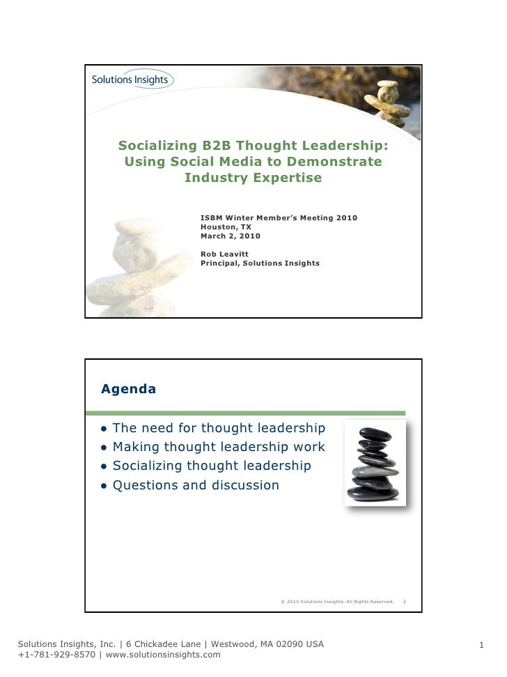Socializing B2B Thought Leadership:                        Using Social Media to Demonstrate                              ...