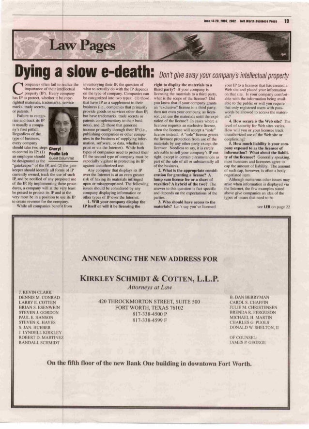 Dying a Slow E-Death: Don't Give Away Your Company's Intellectual Property