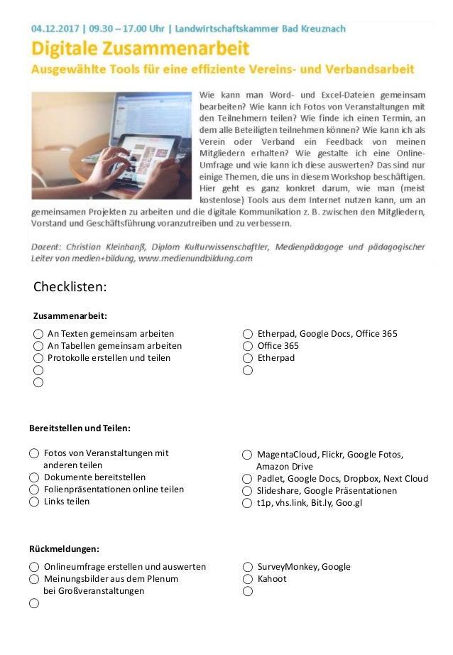 ⃝ An Texten gemeinsam arbeiten ⃝ An Tabellen gemeinsam arbeiten ⃝ Protokolle erstellen und teilen ⃝ ⃝ Checklisten: ⃝ Fotos...