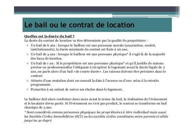le bail ou le contrat de location