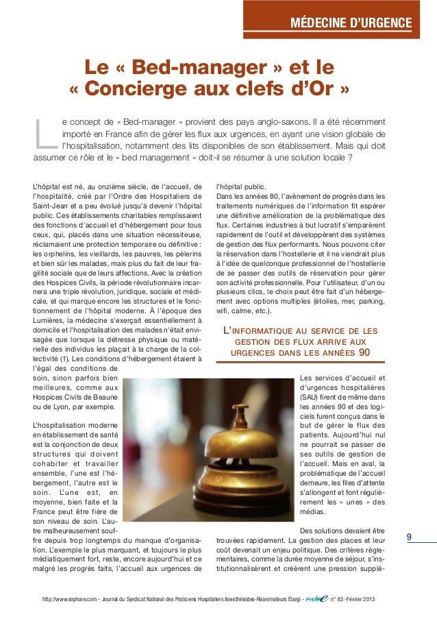 MÉDECINE D'URGENCE  9  Le « Bed-manager » et le  « Concierge aux clefs d'Or »  Le concept de « Bed-manager » provient des ...