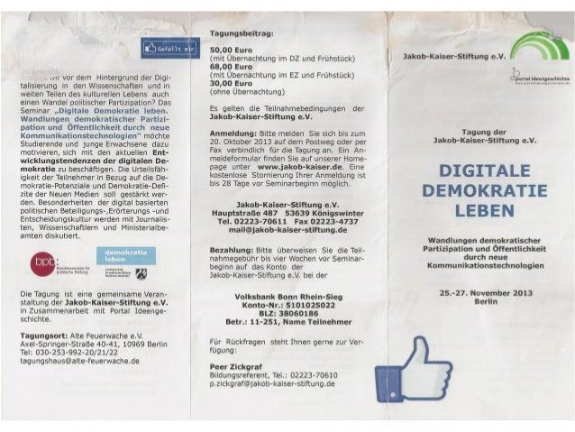 Lebendige Demokratie-invitation for JAKOB KASER FOUNDATION event 2013
