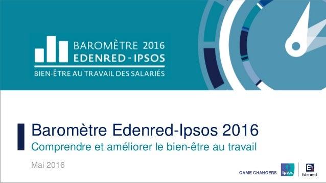 Baromètre Edenred-Ipsos 2016 Comprendre et améliorer le bien-être au travail Mai 2016