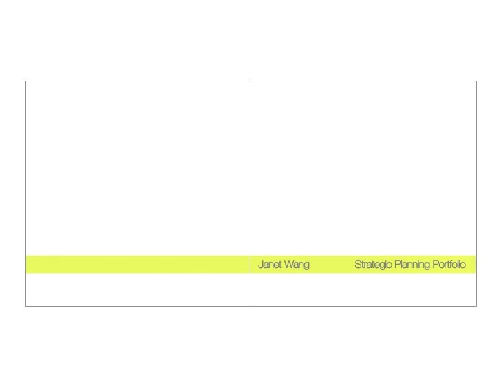 Janet Wang       Strategic Planning Portfolio