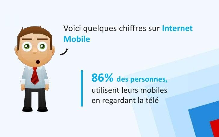 Voici quelques chiffres sur InternetMobile       86% des personnes,       utilisent leurs mobiles       en regardant la télé