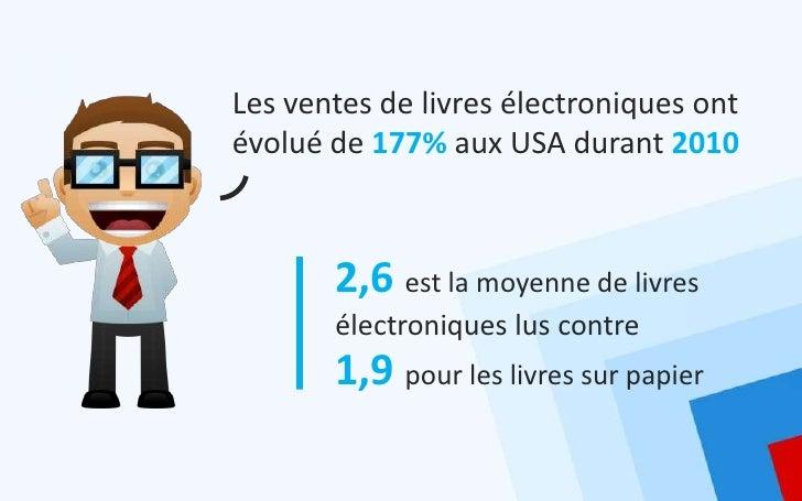 Les ventes de livres électroniques ontévolué de 177% aux USA durant 2010       2,6 est la moyenne de livres       électron...
