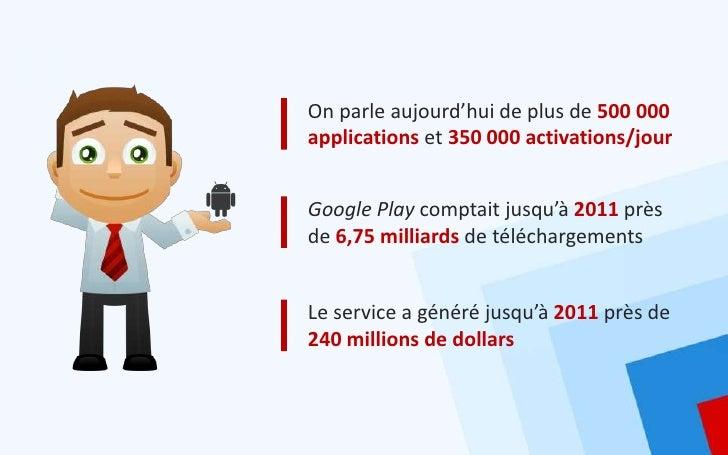 On parle aujourd'hui de plus de 500 000applications et 350 000 activations/jourGoogle Play comptait jusqu'à 2011 prèsde 6,...