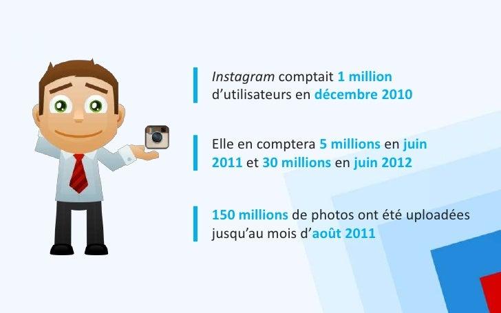 Instagram comptait 1 milliond'utilisateurs en décembre 2010Elle en comptera 5 millions en juin2011 et 30 millions en juin ...