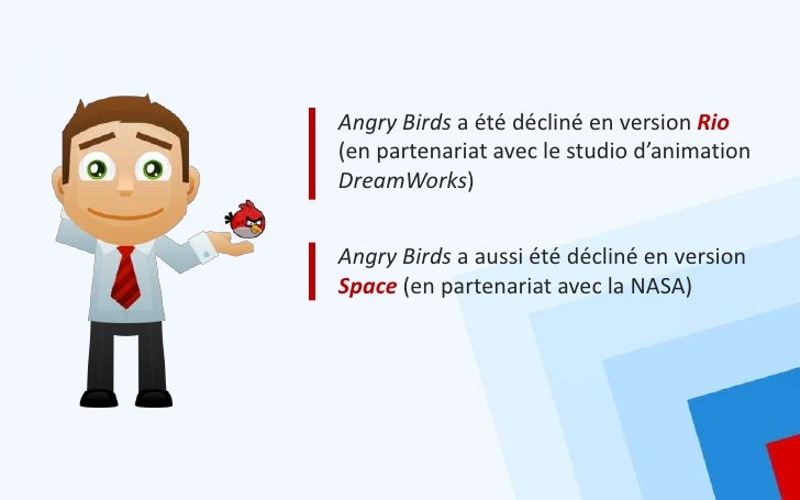 Angry Birds a été décliné en version Rio(en partenariat avec le studio d'animationDreamWorks)Angry Birds a aussi été décli...
