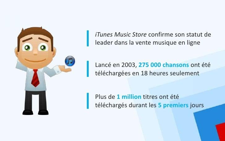 iTunes Music Store confirme son statut deleader dans la vente musique en ligneLancé en 2003, 275 000 chansons ont ététéléc...