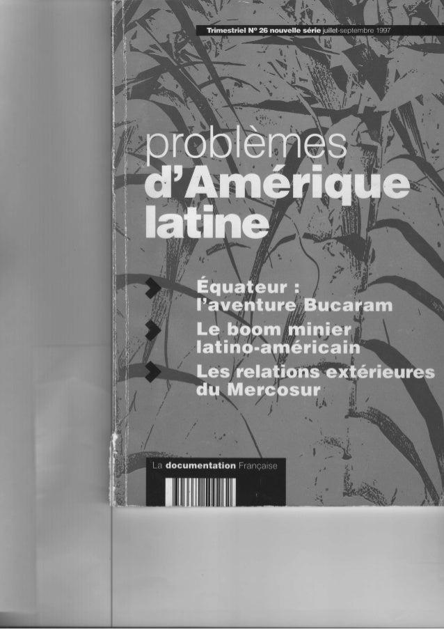 I  Le boom minier  latino-amernicai  et le cas p articulier  résil  Cet article 'évolution récente du ier en Amérique lati...