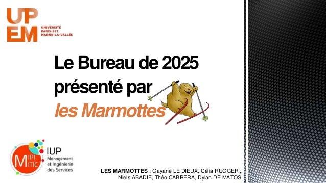 Le Bureau de 2025 présenté par les Marmottes 1LES MARMOTTES : Gayané LE DIEUX, Célia RUGGERI, Niels ABADIE, Théo CABRERA, ...