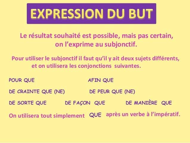 Le résultat souhaité est possible, mais pas certain, on l'exprime au subjonctif. Pour utiliser le subjonctif il faut qu'il...