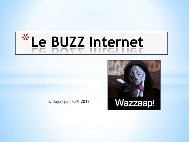 * Le BUZZ Internet   B. Boyadjis – CSN 2012