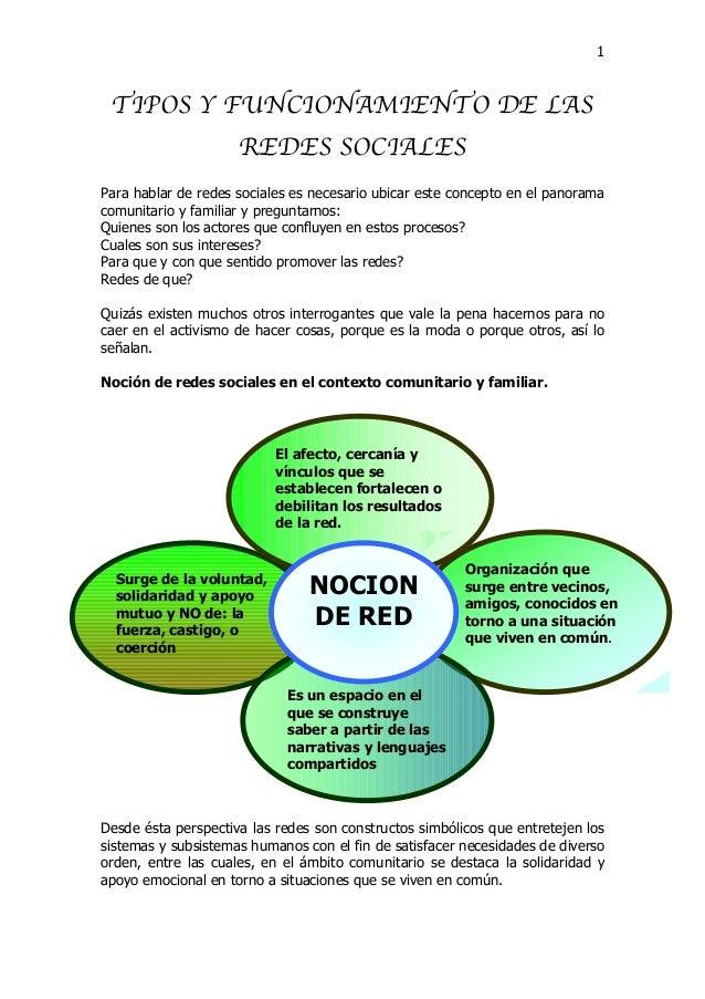 1 TIPOS Y FUNCIONAMIENTO DE LAS REDES SOCIALES Para hablar de redes sociales es necesario ubicar este concepto en el panor...