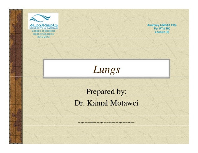 Lungs  Anatomy I (MSAT 213)  For PT & RC  Lecture (9)  Prepared by:  Dr. Kamal Motawei