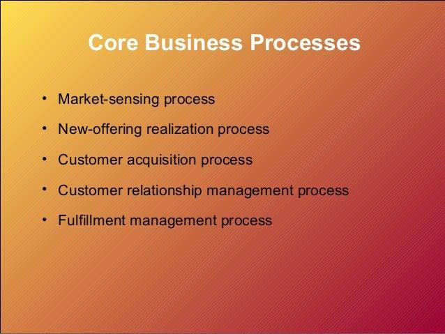 Core Business Processes • Market-sensing process • New-offering realization process • Customer acquisition process • Custo...