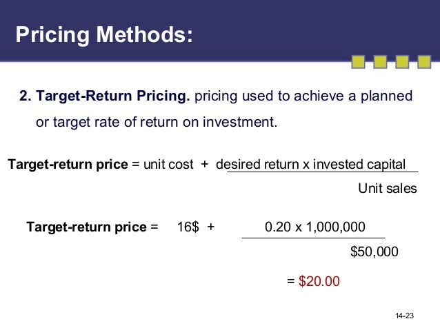 target return objective pricing Pricing objectives • survival • maximize profit • target return  price -  break even point is the point where company's sales revenue equal to its.