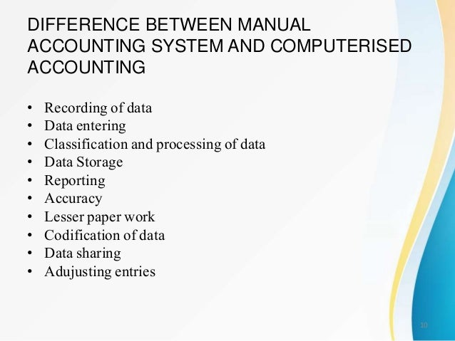 what are the advantages of using a computerized accounting system over a manual system System over a manual system four advantages of manual payroll system  computerized accounting system is, how a company generally have too.