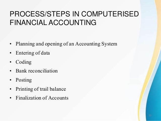 computerised accounting Computerised accounting systems are a convenient way of recording, storing,  analysing and reporting financial information at some stage.