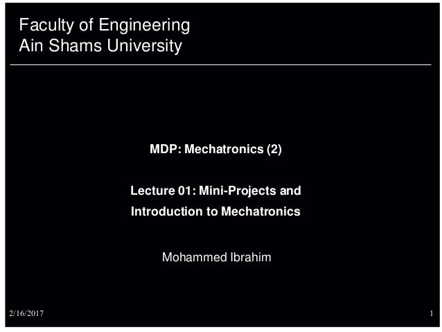 Lec 01(introduction) Mechatronic systems