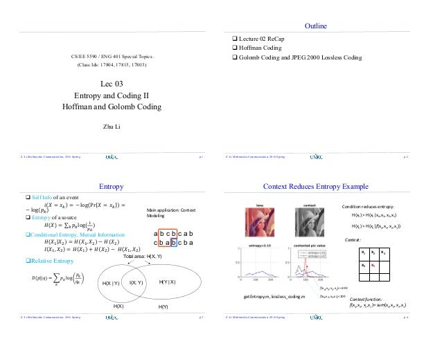 CS/EE 5590 / ENG 401 Special Topics (Class Ids: 17804, 17815, 17803) Lec 03 Entropy and Coding II Hoffman and Golomb Codin...