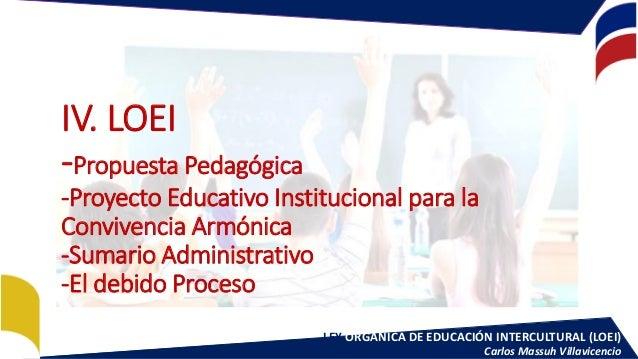 LEY ORGÁNICA DE EDUCACIÓN INTERCULTURAL (LOEI) Carlos Massuh Villavicencio IV. LOEI -Propuesta Pedagógica -Proyecto Educat...