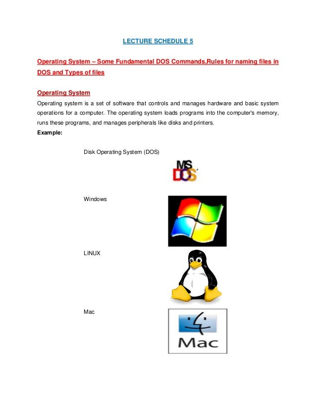LECTURE SCHEDULE 5 Operating System – Some Fundamental DOS Commands,Rules for naming files in DOS and Types of files Opera...
