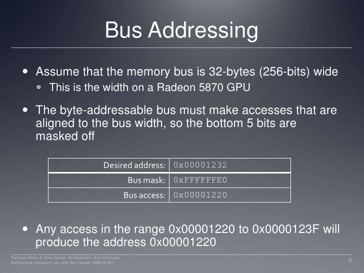 Bus Addressing<br />Assume that the memory bus is 32-bytes (256-bits) wide<br />This is the width on a Radeon 5870 GPU<br ...