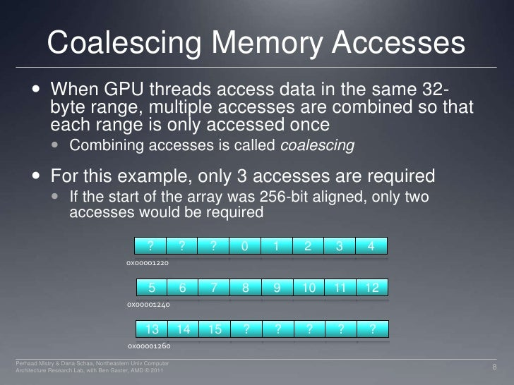 Coalescing Memory Accesses<br />When GPU threads access data in the same 32-byte range, multiple accesses are combined so ...