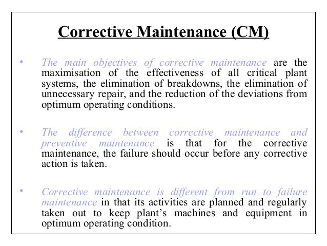maintenance department objective Importance and objectives of maintenance management maintenance is an important factor in quality assurance, which is another basis for the successful competitive edge inconsistencies in equipments lead to variability in product characteristics and result in defective parts that fail to meet the established specifications.
