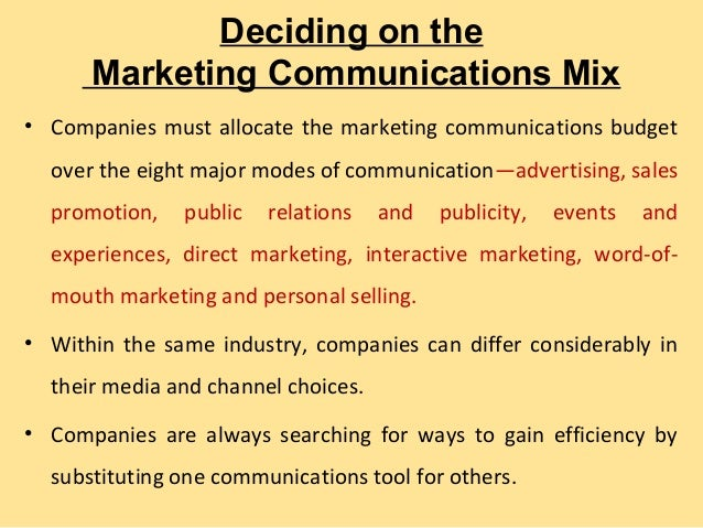 the eight major modes of communication Many small-business owners lump their marketing communications activities into  a catchall function, such as advertising, promotions or public relations this is.