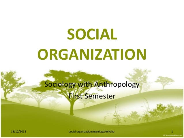 SOCIAL             ORGANIZATION             Sociology with Anthropology                    First Semester13/12/2012       ...