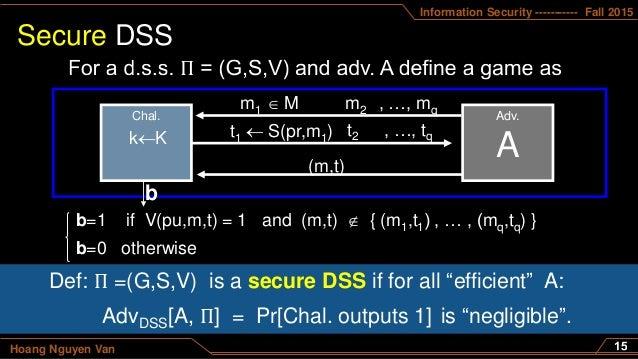 Information Security ----------- Fall 2015 Hoang Nguyen Van Chal. Adv. AkK (m,t) m1  M t1  S(pr,m1) b=1 if V(pu,m,t) = ...