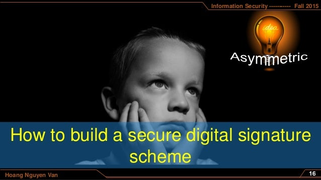 Information Security ----------- Fall 2015 Hoang Nguyen Van How to build a secure digital signature scheme