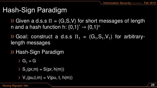 Information Security ----------- Fall 2015 Hoang Nguyen Van Given a d.s.s Π = (G,S,V) for short messages of length n and a...