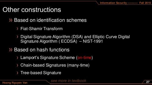 Information Security ----------- Fall 2015 Hoang Nguyen Van Based on identification schemes Fiat-Shamir Transform Digital ...