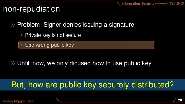 Information Security ----------- Fall 2015 Hoang Nguyen Van Problem: Signer denies issuing a signature Private key is not ...