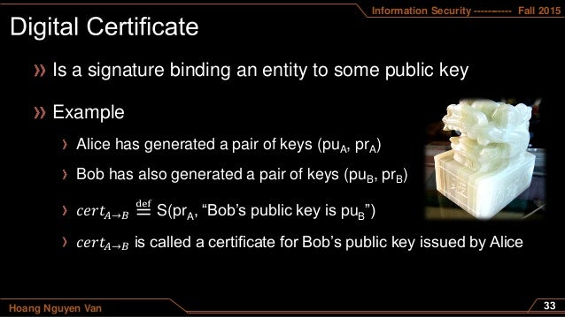 Information Security ----------- Fall 2015 Hoang Nguyen Van Is a signature binding an entity to some public key Example Al...
