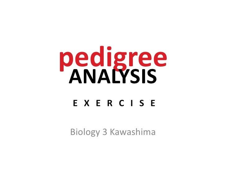 pedigreeANALYSIS<br /> EXERCISE<br />Biology 3 Kawashima<br />