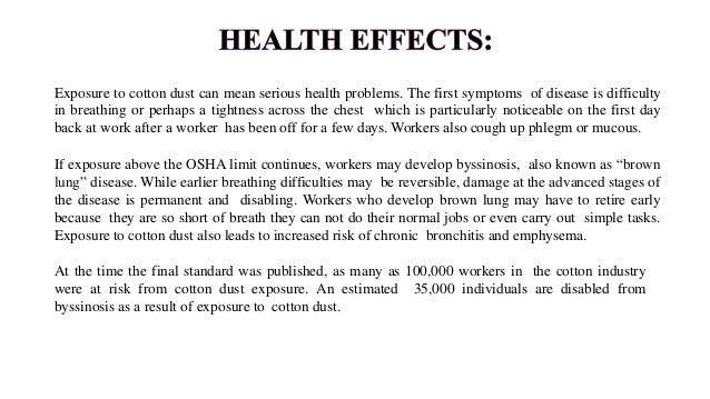 Worker Protection: • To protect workers from disabling respiratory diseases, employers are required to limit the amount of...
