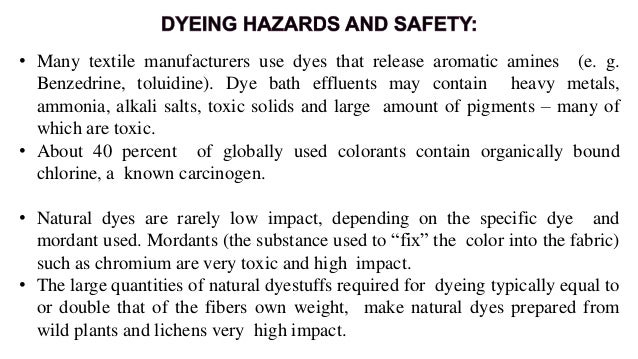 • Eco textiles uses low impact reactive dyes in a closed 100P system. • While they are the lowest impact fiber reactive dy...