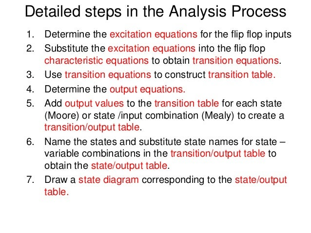 Detailed steps in the Analysis Process1. Determine the excitation equations for the flip flop inputs2. Substitute the exci...