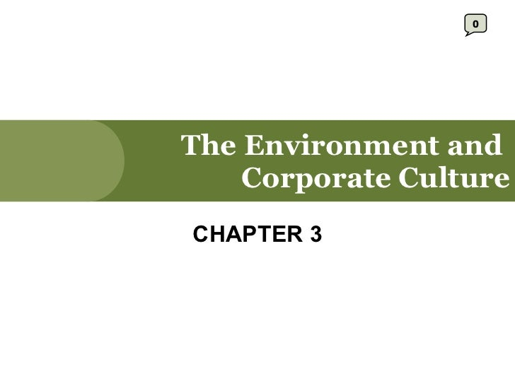 The Environment and  Corporate Culture CHAPTER 3 0